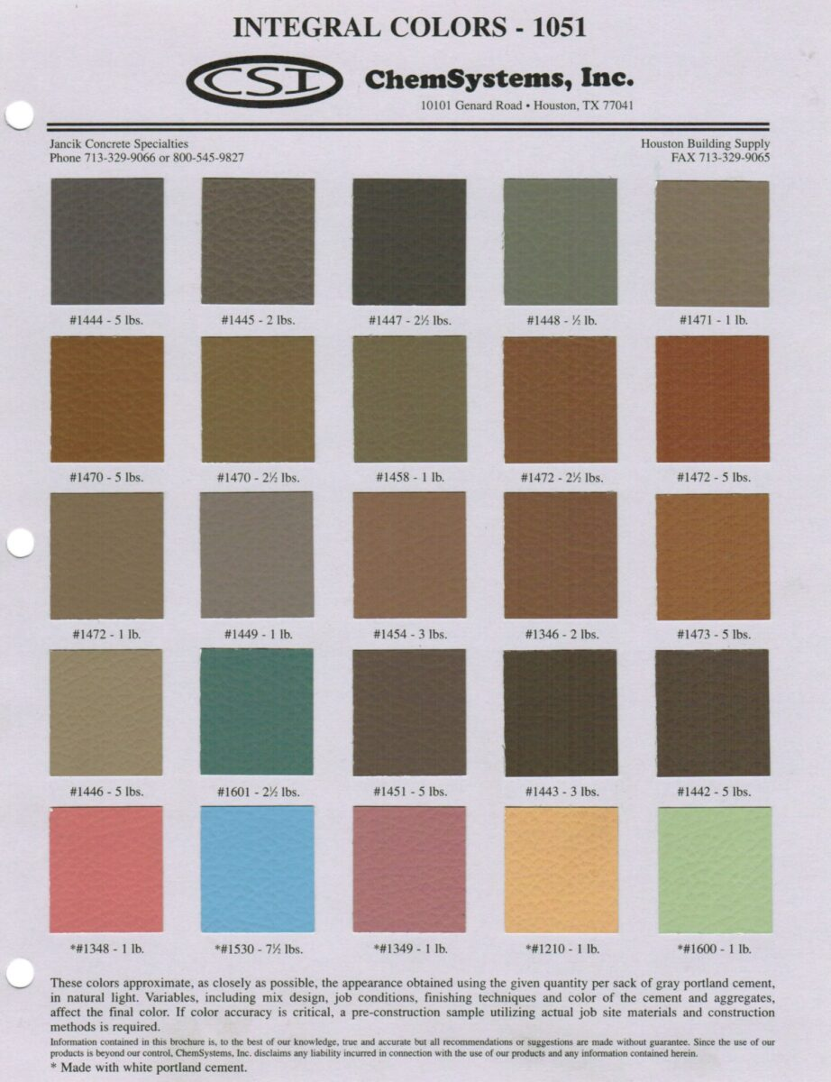 Chemsystems Integral Color Chart